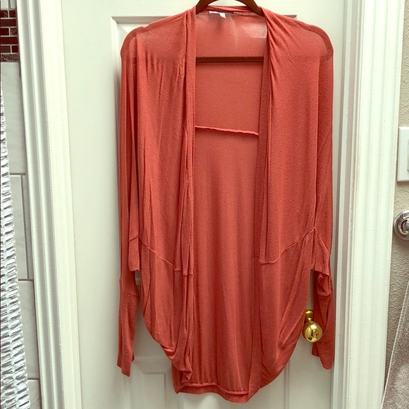 Charlotte Russe Sweaters - Peach long sleeved thin cardigan, long
